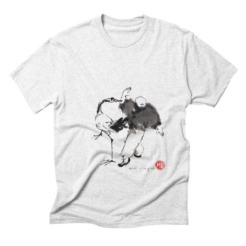 White Crane Spreading Wings Men's Triblend T-shirt by arttaichi's Artist Shop