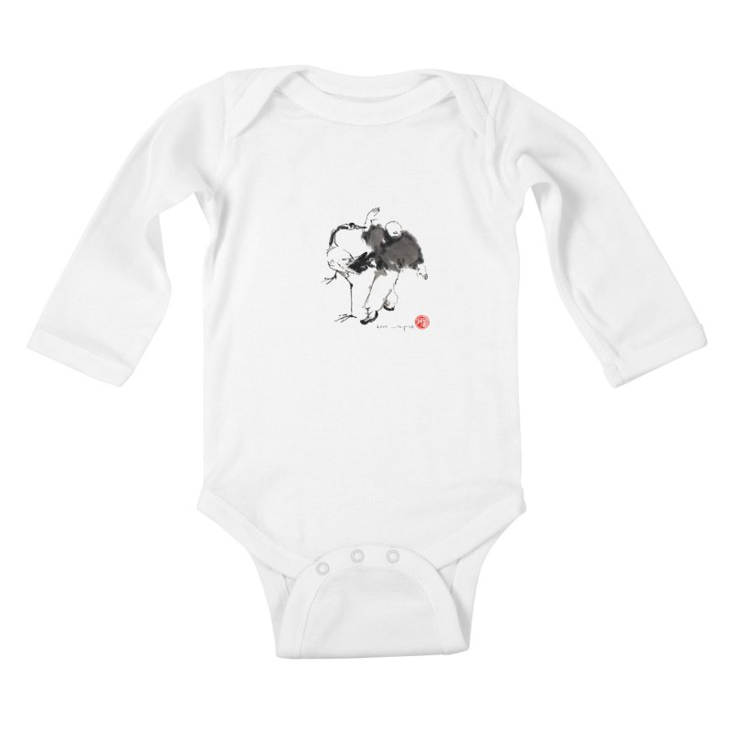 White Crane Spreading Wings Kids Baby Longsleeve Bodysuit by arttaichi's Artist Shop
