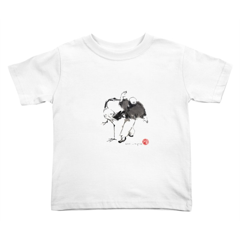 White Crane Spreading Wings Kids Toddler T-Shirt by arttaichi's Artist Shop