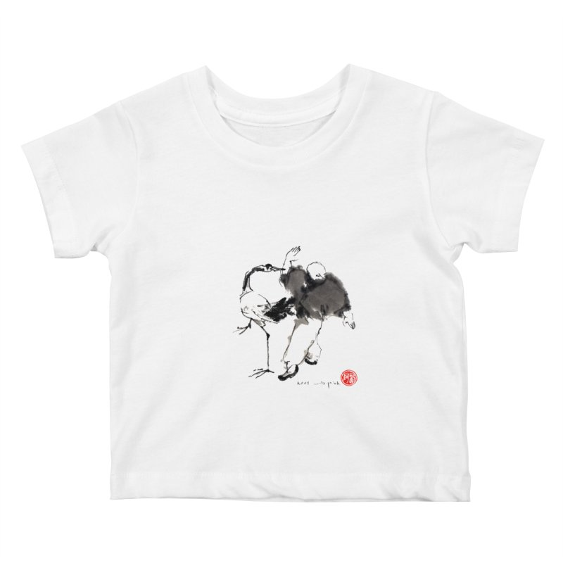 White Crane Spreading Wings Kids Baby T-Shirt by arttaichi's Artist Shop