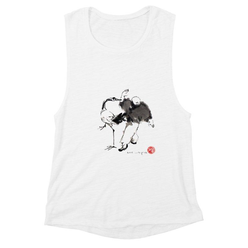 White Crane Spreading Wings Women's Muscle Tank by arttaichi's Artist Shop