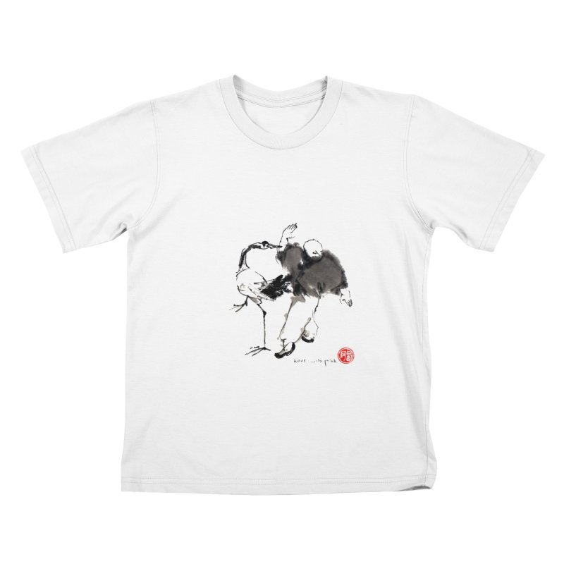 White Crane Spreading Wings Kids T-Shirt by arttaichi's Artist Shop