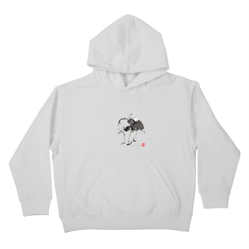 White Crane Spreading Wings Kids Pullover Hoody by arttaichi's Artist Shop