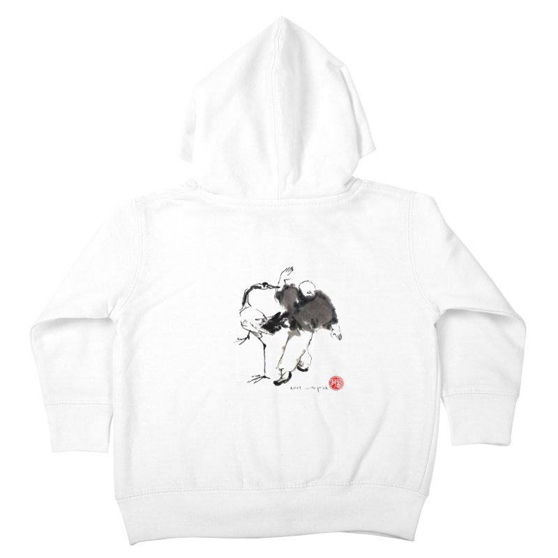 White Crane Spreading Wings Kids Toddler Zip-Up Hoody by arttaichi's Artist Shop