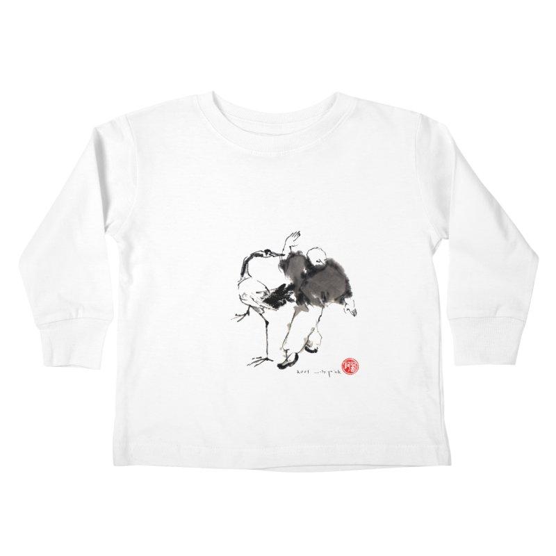 White Crane Spreading Wings Kids Toddler Longsleeve T-Shirt by arttaichi's Artist Shop