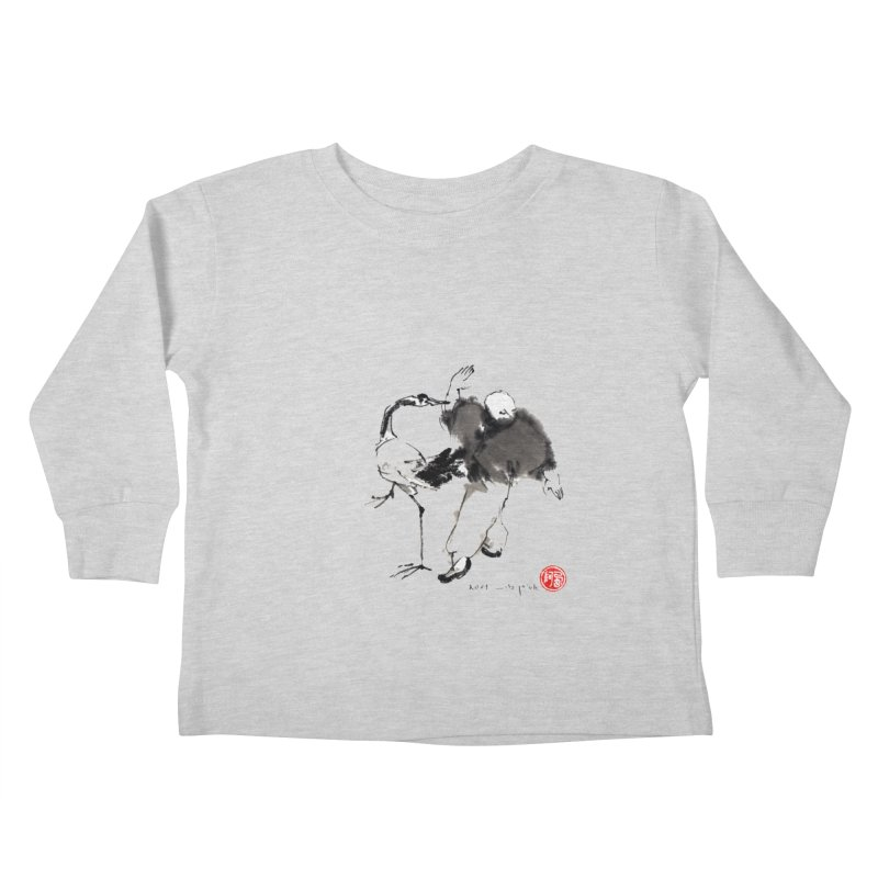 White Crane Spreading Wings Kids Toddler Longsleeve T-Shirt by arttaichi's Artist Shop