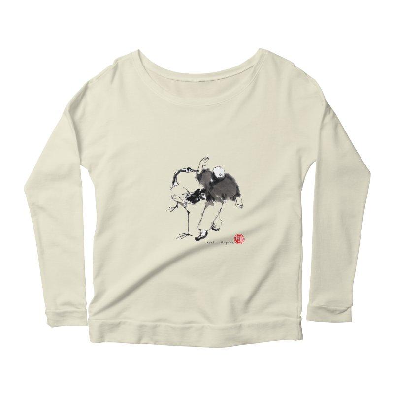 White Crane Spreading Wings Women's Scoop Neck Longsleeve T-Shirt by arttaichi's Artist Shop