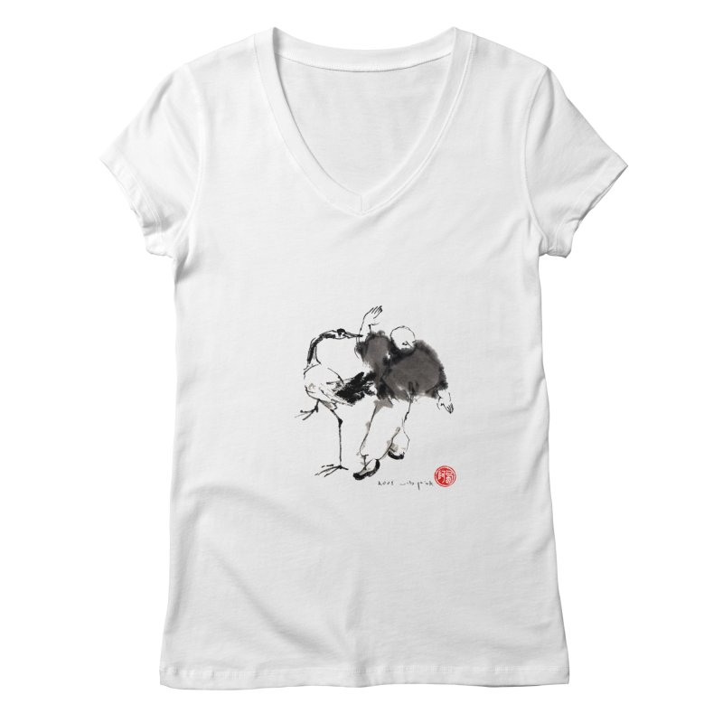 White Crane Spreading Wings Women's Regular V-Neck by arttaichi's Artist Shop