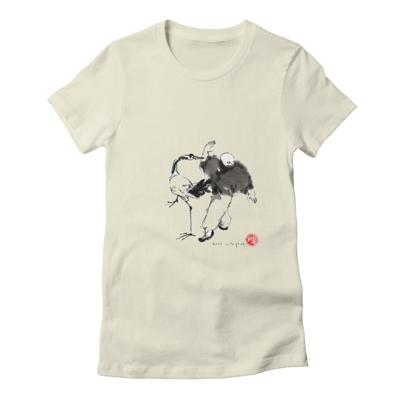 White Crane Spreading Wings Women's Fitted T-Shirt by arttaichi's Artist Shop