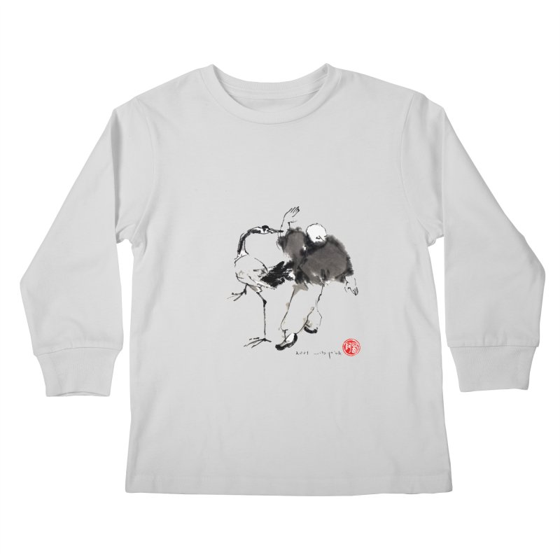 White Crane Spreading Wings Kids Longsleeve T-Shirt by arttaichi's Artist Shop