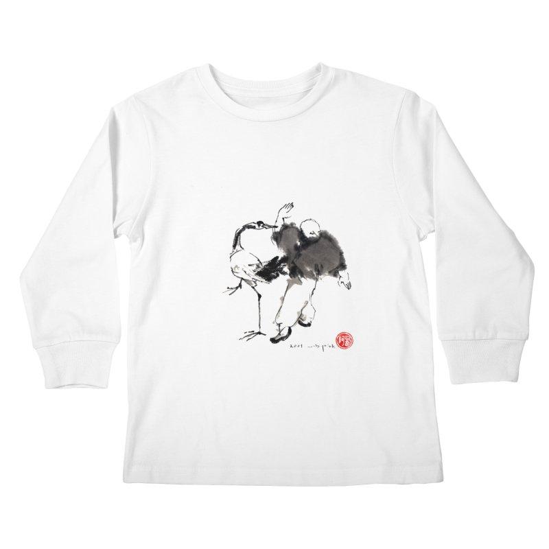 White Crane Spreading Wings Kids Longsleeve T-Shirt by arttaichi's Artist Shop