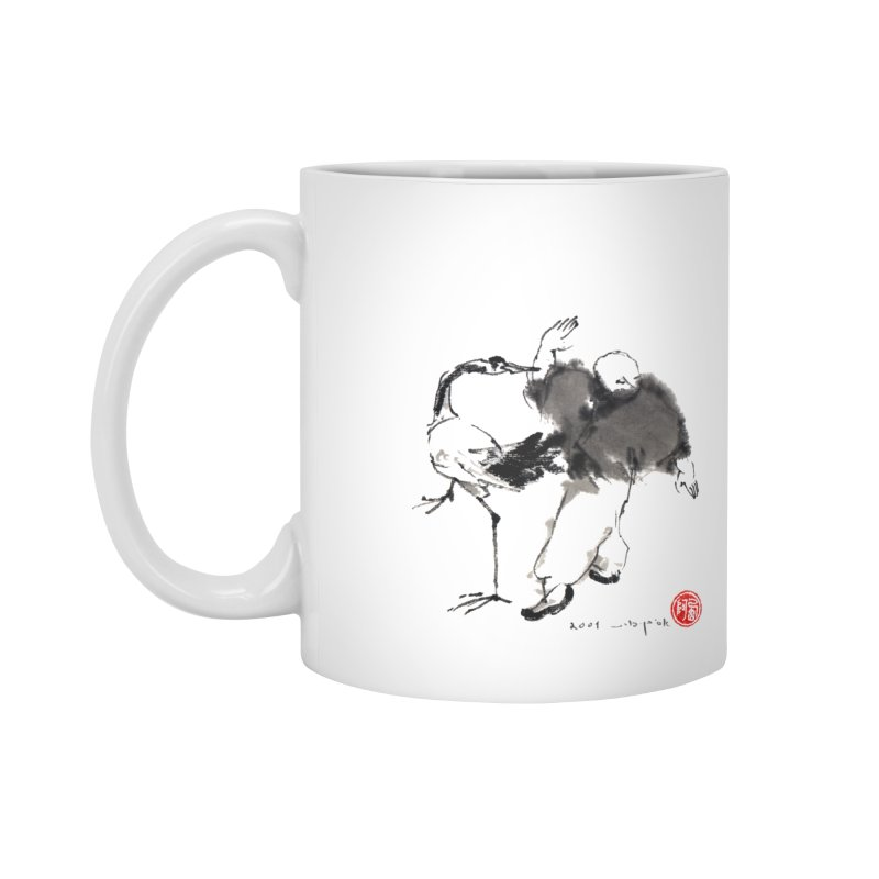 White Crane Spreading Wings Accessories Mug by arttaichi's Artist Shop