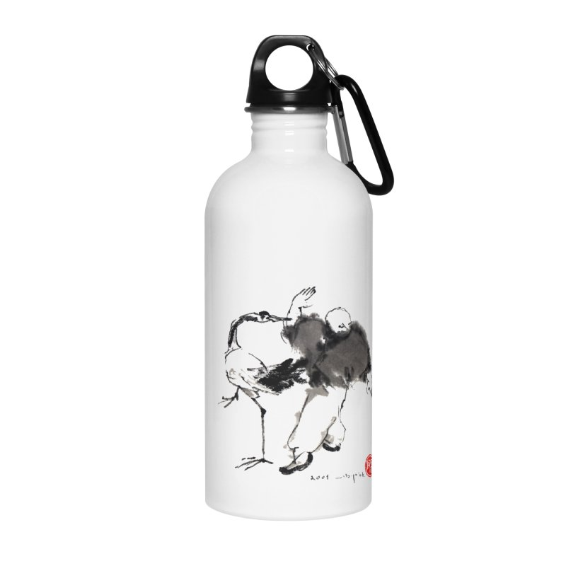 White Crane Spreading Wings Accessories Water Bottle by arttaichi's Artist Shop