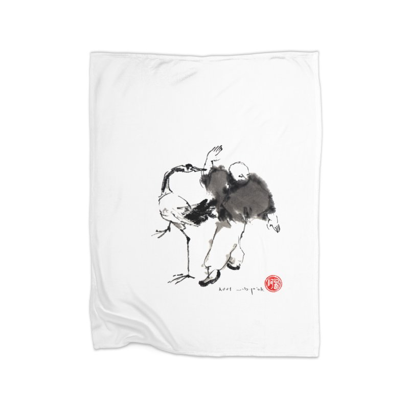 White Crane Spreading Wings Home Blanket by arttaichi's Artist Shop