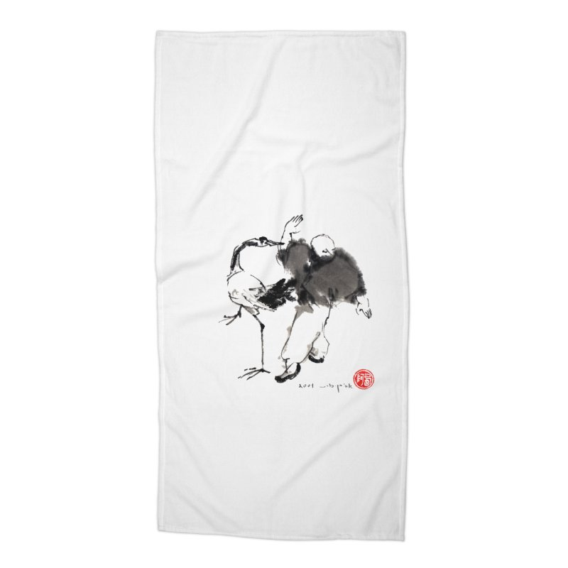 White Crane Spreading Wings Accessories Beach Towel by arttaichi's Artist Shop