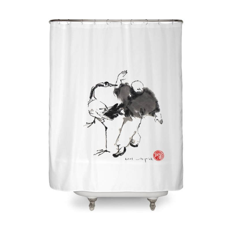 White Crane Spreading Wings Home Shower Curtain by arttaichi's Artist Shop