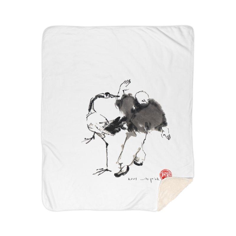 White Crane Spreading Wings Home Sherpa Blanket Blanket by arttaichi's Artist Shop