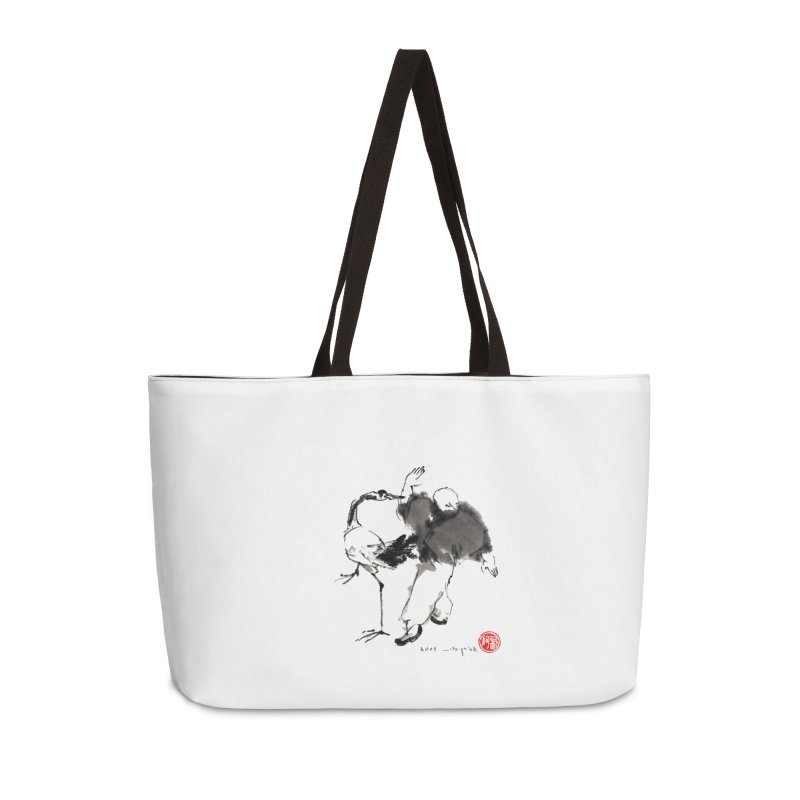 White Crane Spreading Wings Accessories Weekender Bag Bag by arttaichi's Artist Shop
