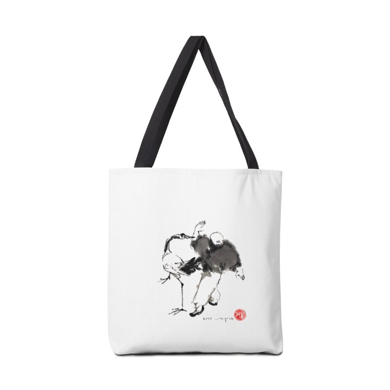 White Crane Spreading Wings Accessories Bag by arttaichi's Artist Shop