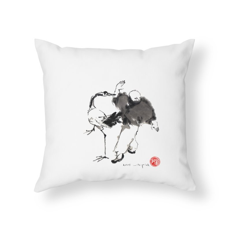 White Crane Spreading Wings Home Throw Pillow by arttaichi's Artist Shop