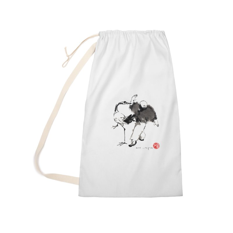 White Crane Spreading Wings Accessories Laundry Bag Bag by arttaichi's Artist Shop