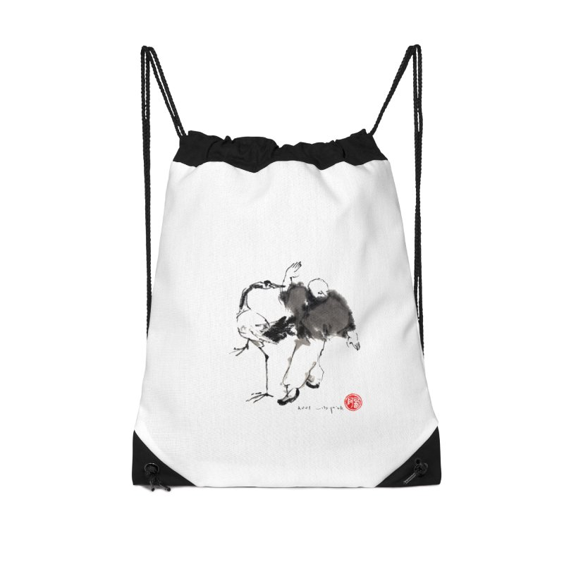 White Crane Spreading Wings Accessories Drawstring Bag Bag by arttaichi's Artist Shop