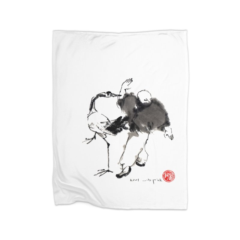 White Cran Spreading Wings Home Blanket by arttaichi's Artist Shop