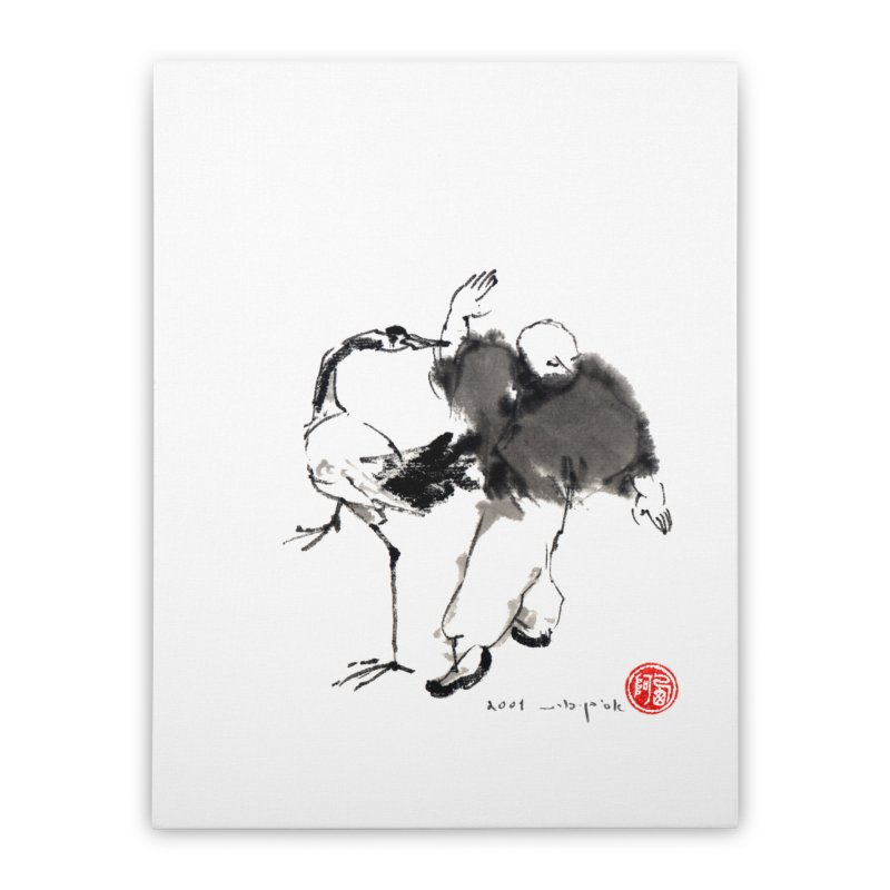 White Cran Spreading Wings Home Stretched Canvas by arttaichi's Artist Shop