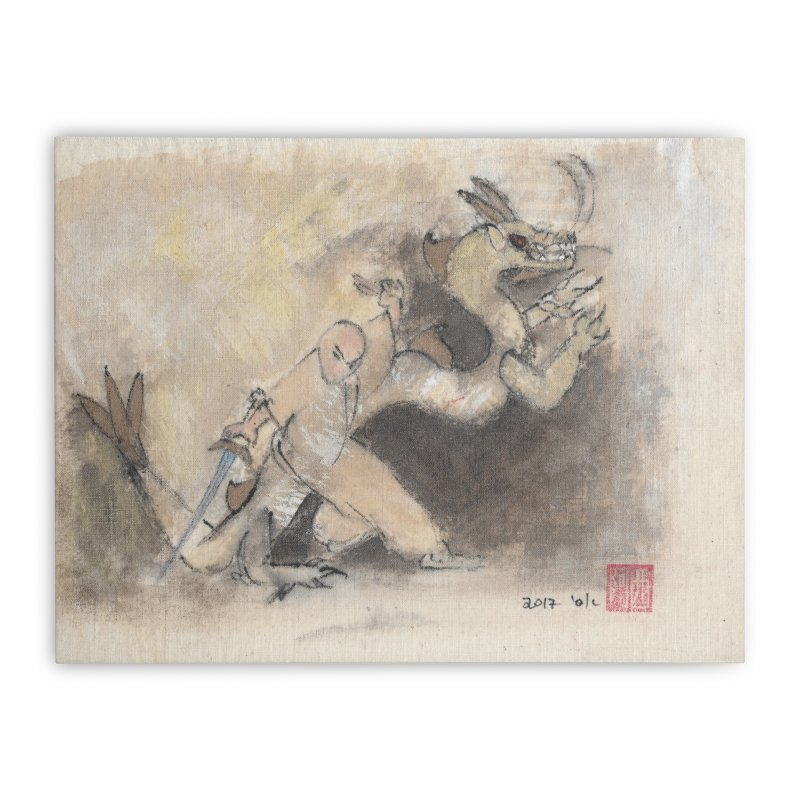 Tai Chi Sword Art Image. Black Dragon Wagging Tail Home Stretched Canvas by arttaichi's Artist Shop