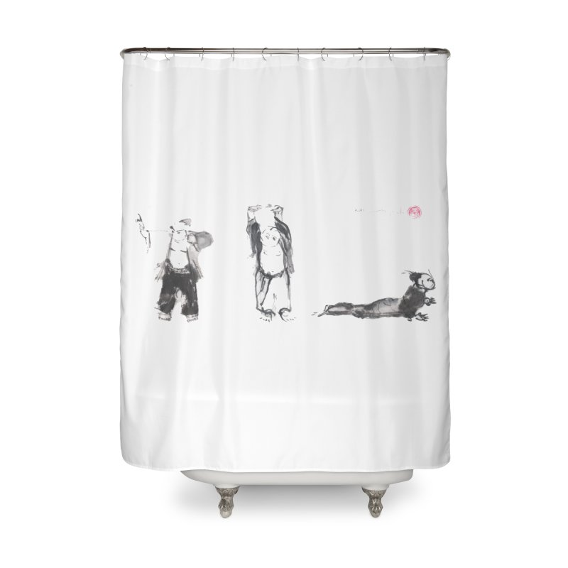 Chi Kung and Yoga Postures Home Shower Curtain by arttaichi's Artist Shop