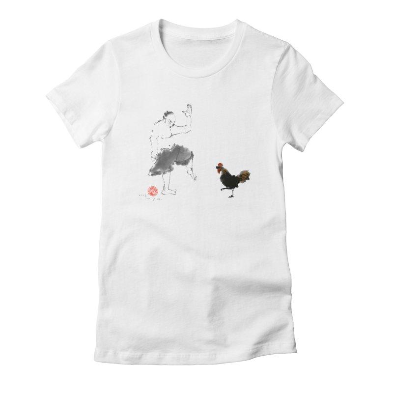 Golden Rooster Women's Fitted T-Shirt by arttaichi's Artist Shop