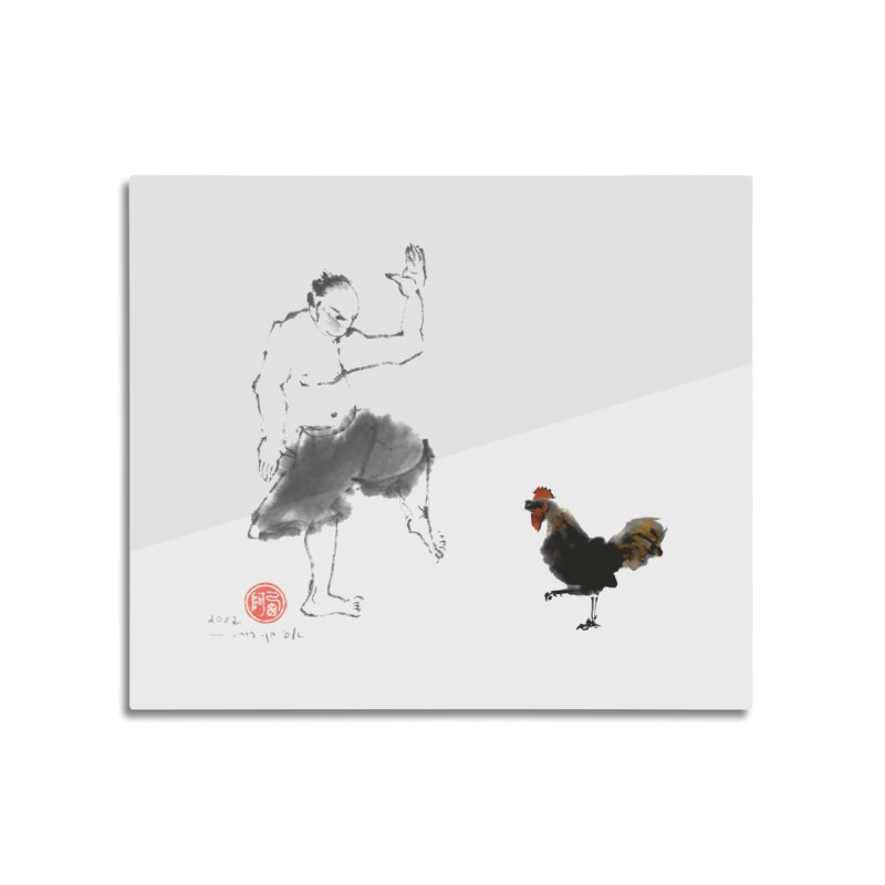 Golden Rooster Home Mounted Aluminum Print by arttaichi's Artist Shop