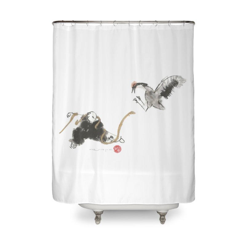 Tai Chi Crane and Snake Home Shower Curtain by arttaichi's Artist Shop