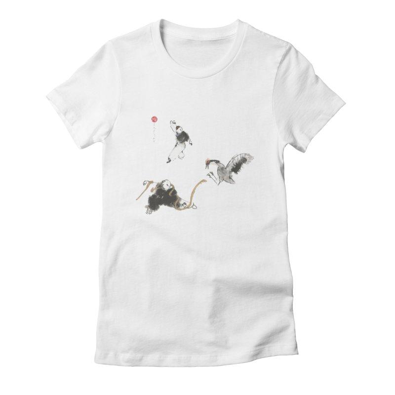 Tai Chi Crane and Snake Women's Fitted T-Shirt by arttaichi's Artist Shop