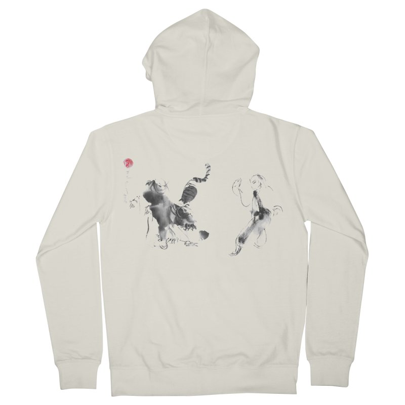 Step Back To Ride Tiger Men's French Terry Zip-Up Hoody by arttaichi's Artist Shop