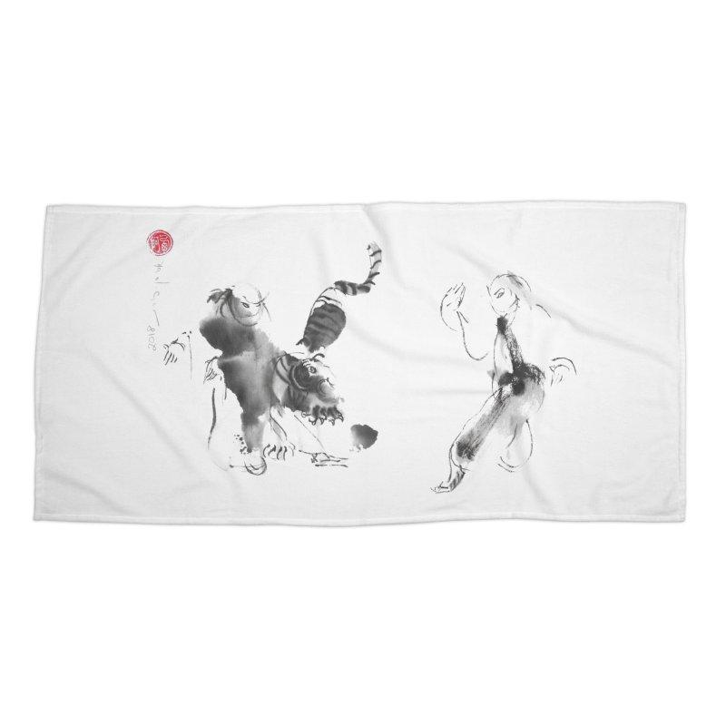 Step Back To Ride Tiger Accessories Beach Towel by arttaichi's Artist Shop