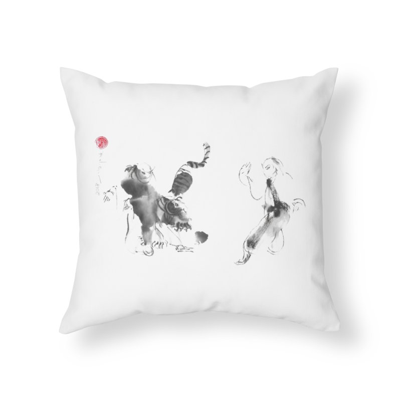 Step Back To Ride Tiger Home Throw Pillow by arttaichi's Artist Shop
