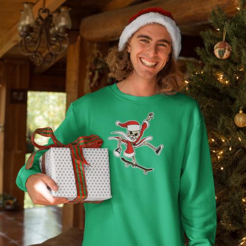 Christmas-Skateboarding-Santa-Skeleton