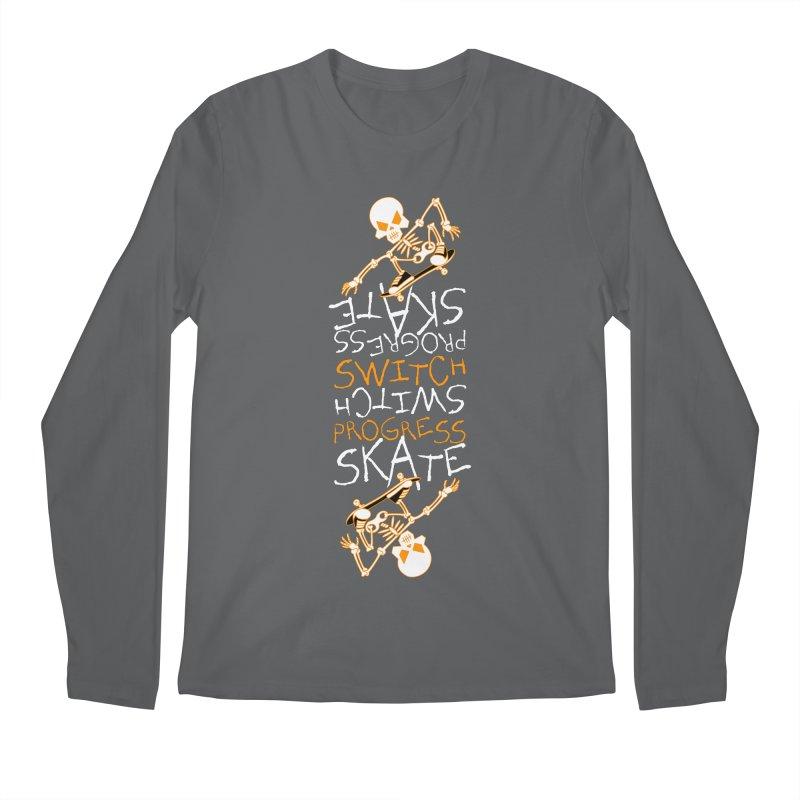 Skateboard Skeleton Switch Progress Skate Inspirational Art (Orange) Men's Longsleeve T-Shirt by Art Time Productions by TET