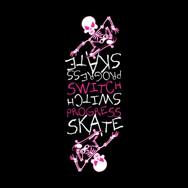 Skateboard Skeleton Switch Progress Skate Inspirational Art (Pink) Men's Longsleeve T-Shirt by Art Time Productions by TET