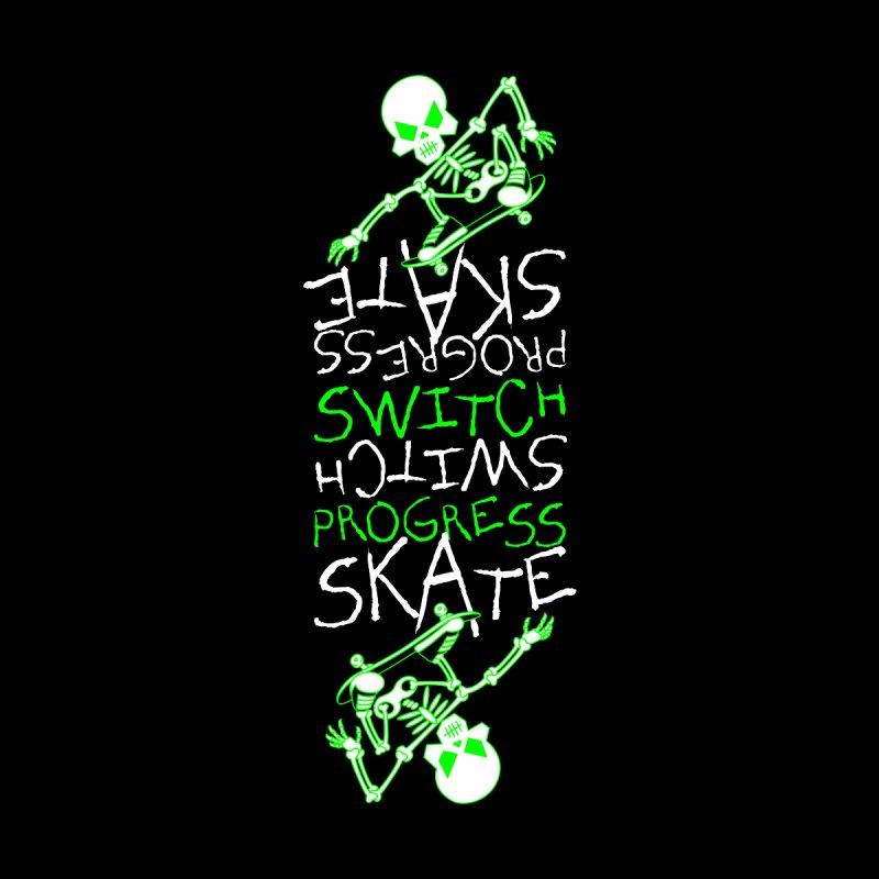 Skateboard Skeleton Switch Progress Skate Inspirational Art (Green) Home Rug by Art Time Productions by TET