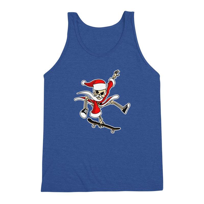 Christmas Skateboarding Santa Skeleton Zombie Men's Tank by Art Time Productions by TET