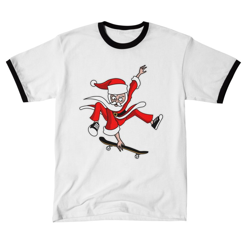 Christmas Skateboarding Santa Skater Holiday Cheer Women's T-Shirt by Art Time Productions by TET