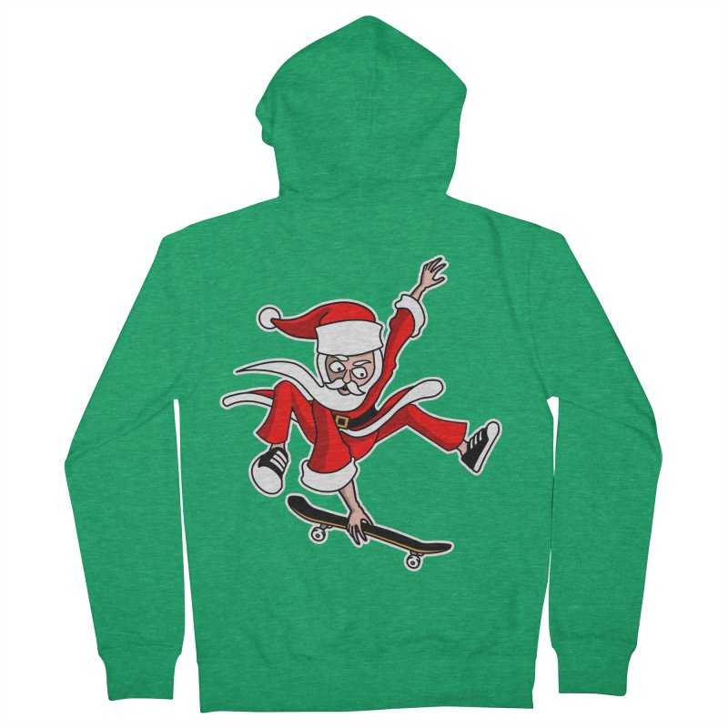 Christmas Skateboarding Santa Skater Holiday Cheer Women's Zip-Up Hoody by Art Time Productions by TET