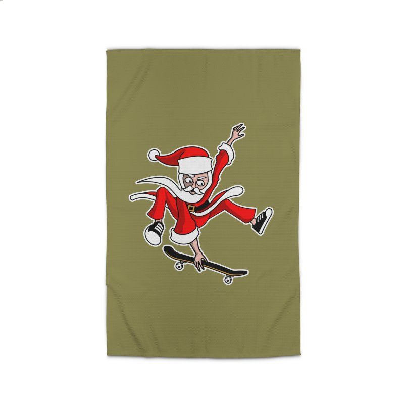Christmas Skateboarding Santa Skater Holiday Cheer Home Rug by Art Time Productions by TET