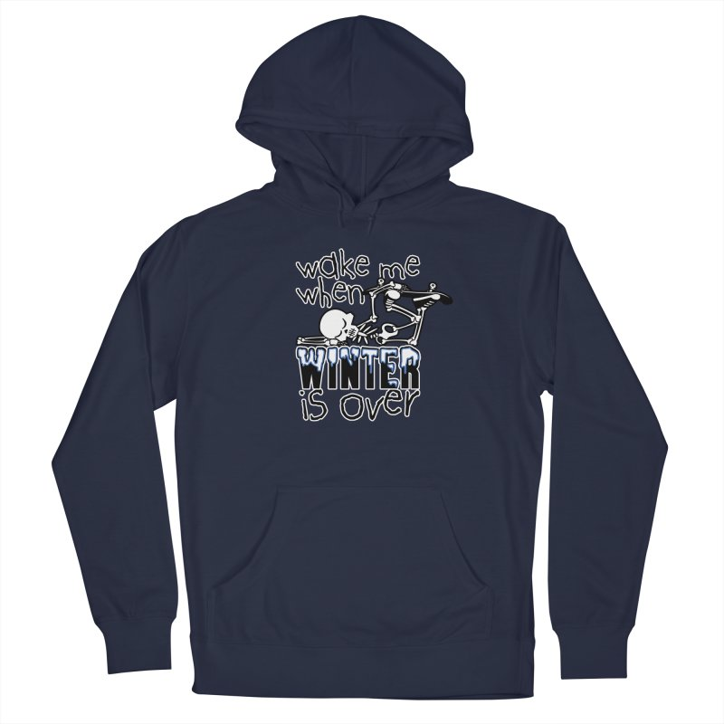 Wake Me Up When Winter is Over Sleeping Skateboard Skeleton Zombie Men's Pullover Hoody by Art Time Productions by TET