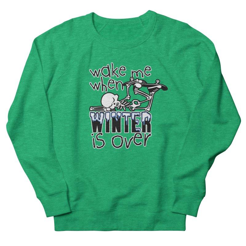 Wake Me Up When Winter is Over Sleeping Skateboard Skeleton Zombie Women's Sweatshirt by Art Time Productions by TET