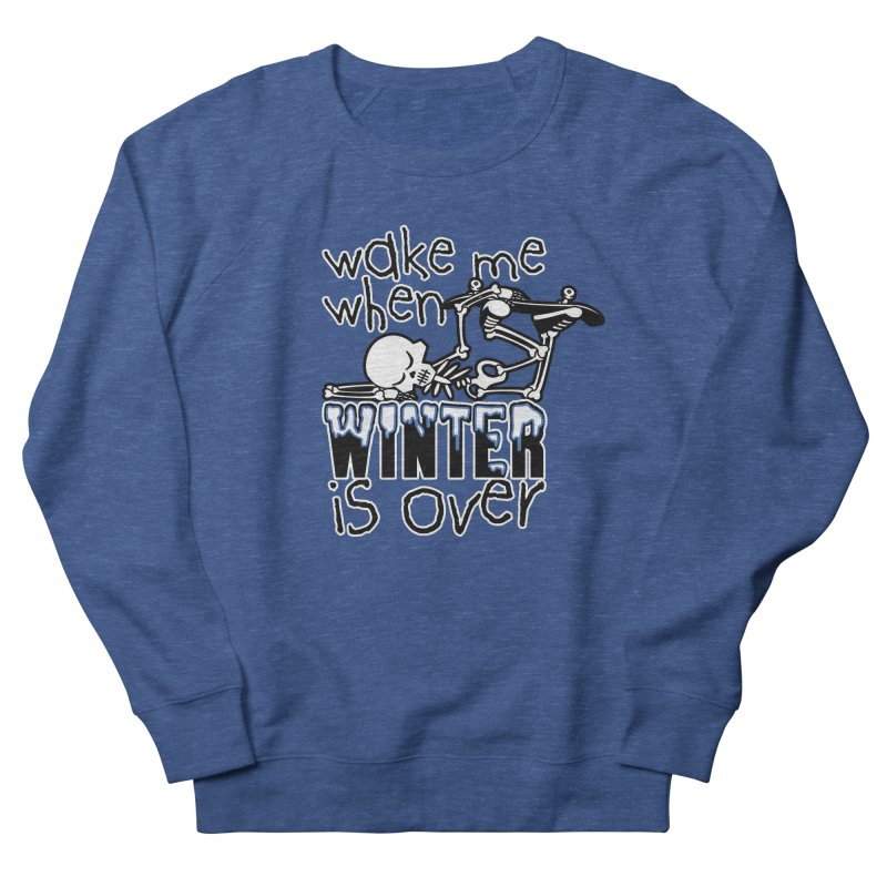 Wake Me Up When Winter is Over Sleeping Skateboard Skeleton Zombie Men's Sweatshirt by Art Time Productions by TET