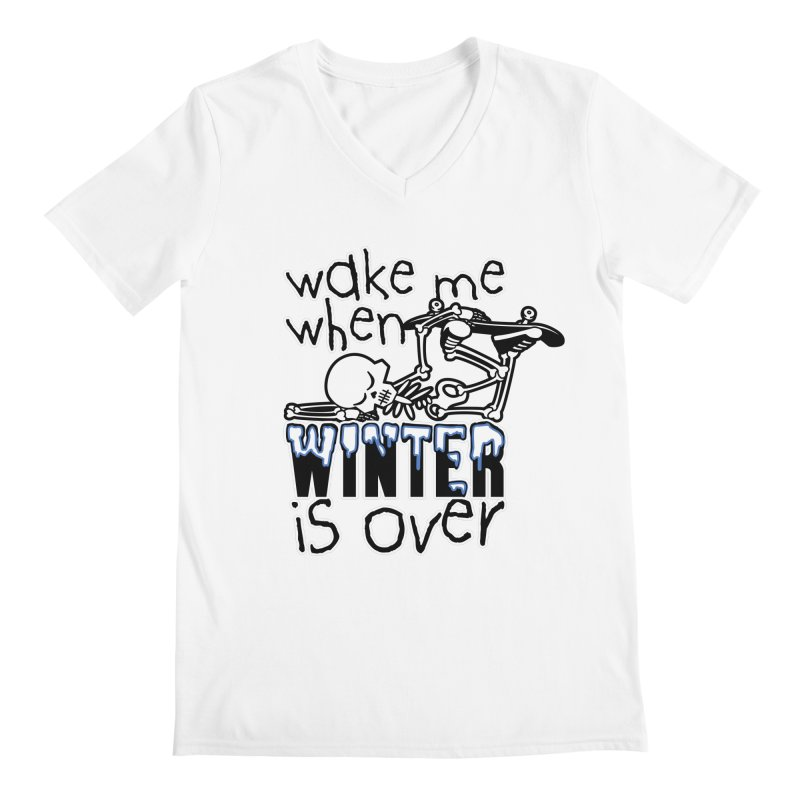 Wake Me Up When Winter is Over Sleeping Skateboard Skeleton Zombie Men's V-Neck by Art Time Productions by TET