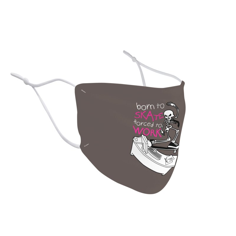Born to Skate Forced to Work - Pink Skeleton Zombie Skateboarder Accessories Face Mask by Art Time Productions by TET